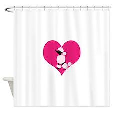 Pink Black Poodle Heart Shower Curtain