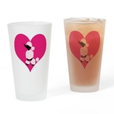 Pink Black Poodle Heart Drinking Glass