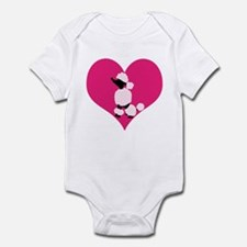 Pink Black Poodle Heart Body Suit