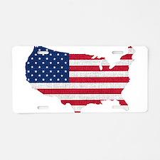 American Flag Map Aluminum License Plate