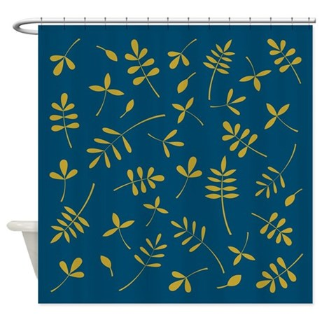 Gold Leaves On Teal Shower Curtain By NataliePaskellDesign