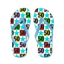 50th Blue Star Flip Flops