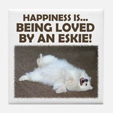 "American Eskimo ""Happiness"" Tile Coaster"