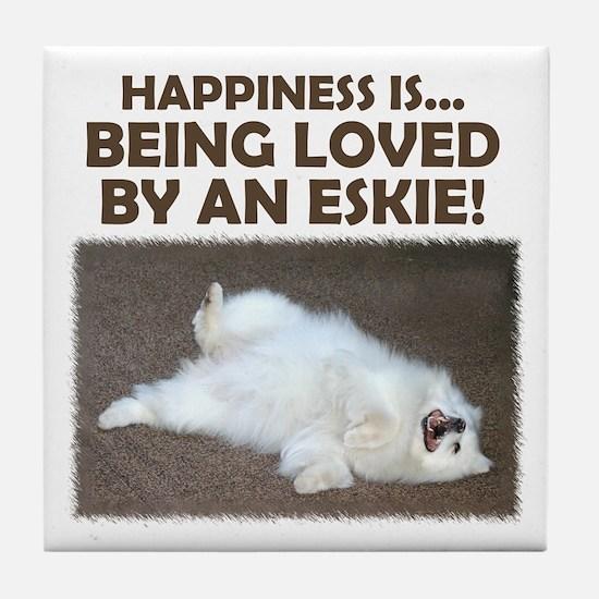 "American Eskimo ""Happiness"" Tile Coaster"