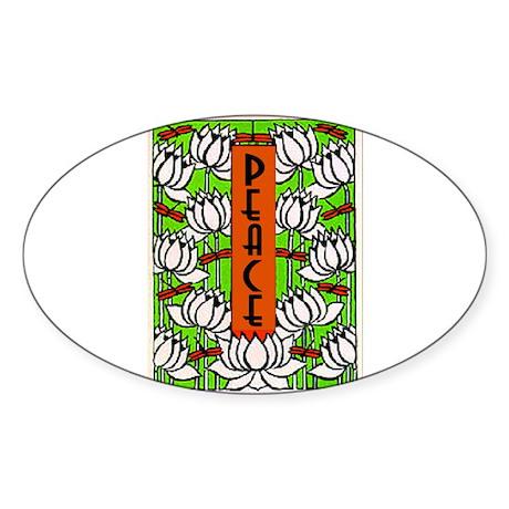 PEACE (Lotus) Oval Sticker