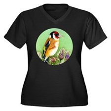 Cute Goldfinch Women's Plus Size V-Neck Dark T-Shirt