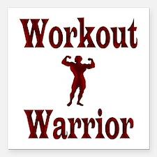"Workout Warrior Square Car Magnet 3"" x 3"""
