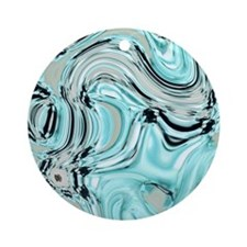 abstract turquoise swirls Round Ornament