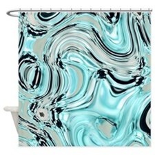 abstract turquoise swirls Shower Curtain
