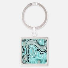 abstract turquoise swirls Square Keychain