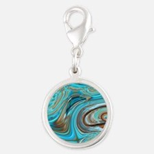 rustic turquoise swirls Silver Round Charm