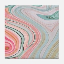 girly coral mint pattern Tile Coaster