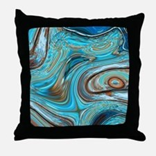 rustic turquoise swirls Throw Pillow