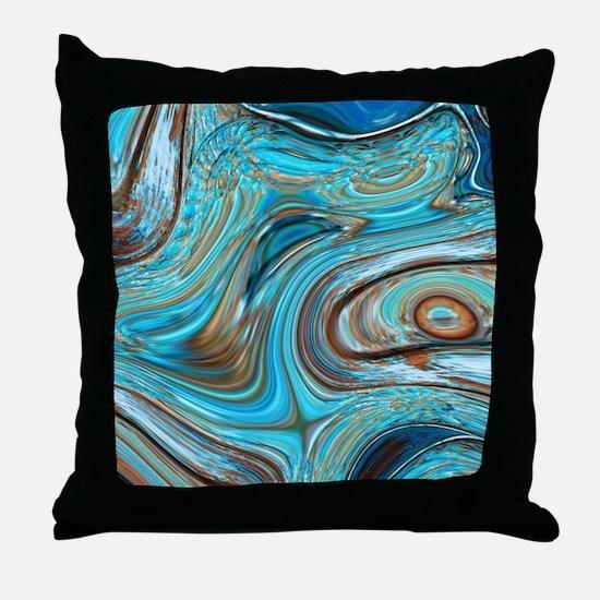 rustic turquoise swirls Throw Pillow