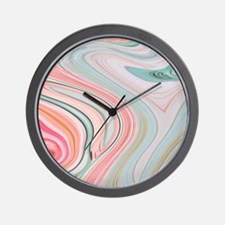 girly coral mint pattern Wall Clock