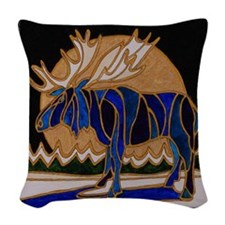 Winter moose Woven Throw Pillow