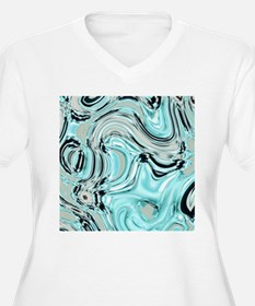 abstract turquoise swirls Plus Size T-Shirt