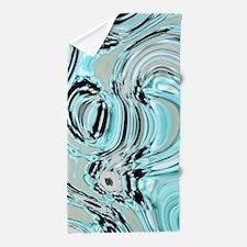 abstract turquoise swirls Beach Towel