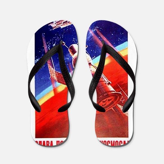 Sputnik Soviet Union Russian Space Rock Flip Flops