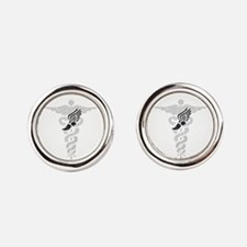 Podiatry Caduceus Round Cufflinks