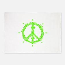Flower Hippie Peace 60's Sign Psych 5'x7'Area Rug