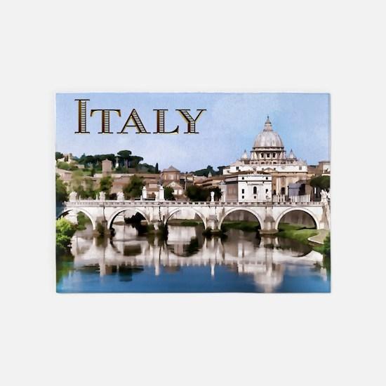 Vatican City Seen from Tiber River 5'x7'Area Rug