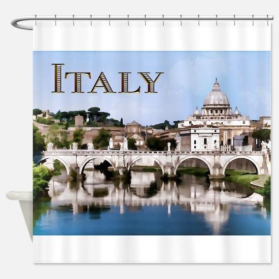 Vatican City Seen from Tiber River Shower Curtain