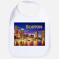 Boston Harbor at Night text BOSTON copy Bib