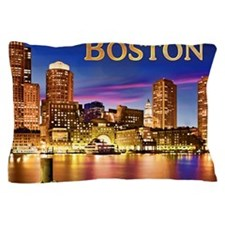 Boston Harbor at Night text BOSTON cop Pillow Case
