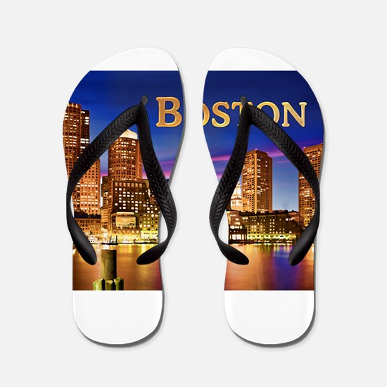 Boston Harbor at Night text BOSTON copy Flip Flops