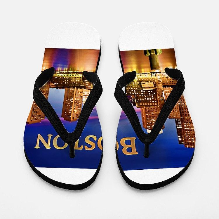 Boston Harbor at Night text BOSTON copy Flip Flops
