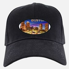 Boston Harbor at Night text BOSTON copy Baseball Hat