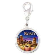 Boston Harbor at Night text BOSTON copy Charms