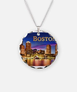 Boston Harbor at Night text Necklace