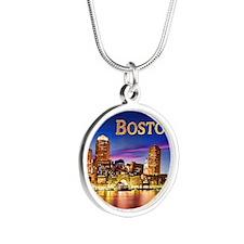 Boston Harbor at Night text BOSTON copy Necklaces