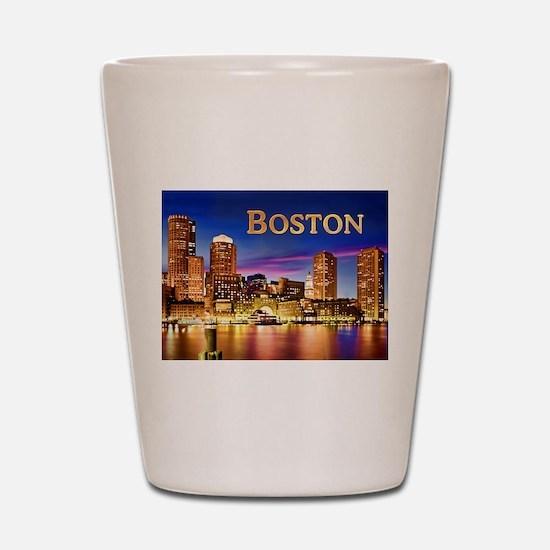 Boston Harbor at Night text BOSTON copy Shot Glass
