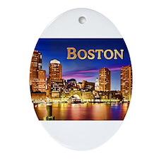 Boston Harbor at Night text BOSTON Ornament (Oval)