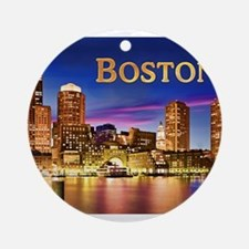 Boston Harbor at Night text BOSTO Ornament (Round)