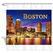 Boston Harbor at Night text BOSTON Shower Curtain