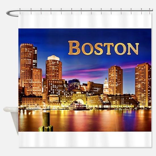 Boston Harbor at Night text BOSTON Shower Curtain