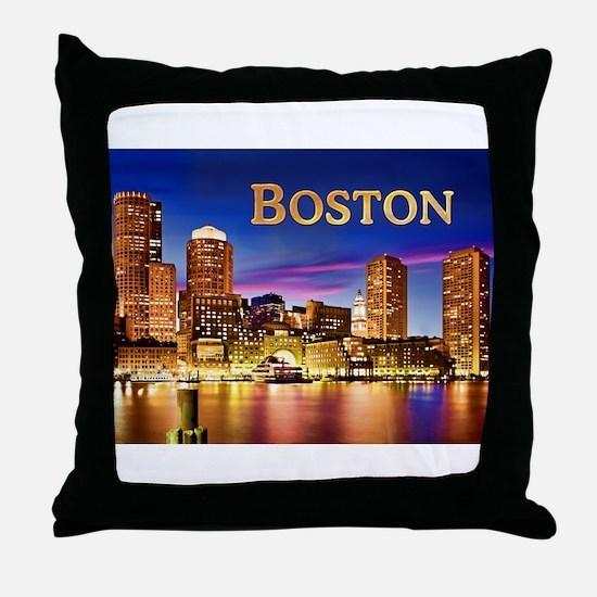 Boston Harbor at Night text BOSTON co Throw Pillow
