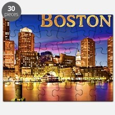 Boston Harbor at Night text BOSTON copy Puzzle