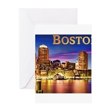 Boston Harbor at Night text BOSTON Greeting Cards