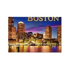 Boston Harbor at Night text BOSTO Rectangle Magnet
