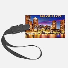 Boston Harbor at Night text BOST Luggage Tag