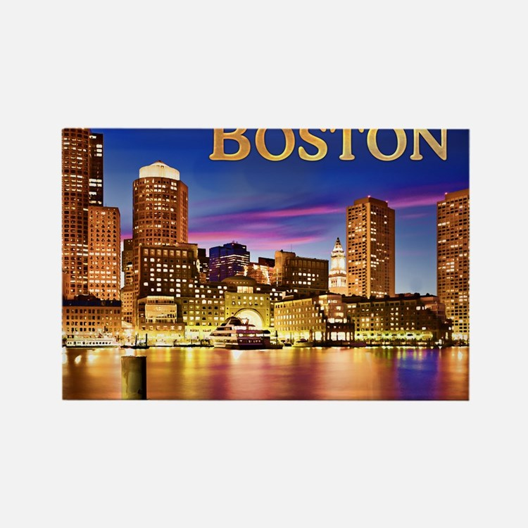 Boston Harbor at Night text BOSTO Magnets