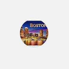 Boston Harbor at Night text Mini Button (10 pack)