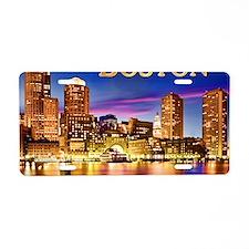 Boston Harbor at Night text Aluminum License Plate