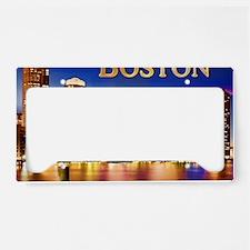 Boston Harbor at Night text B License Plate Holder
