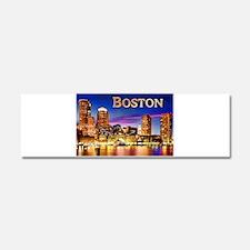 Boston Harbor at Night text BOST Car Magnet 10 x 3